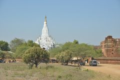 Laymyethna white temple Bagan stock images
