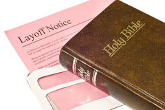 Layoff Notice and Bible Royalty Free Stock Image