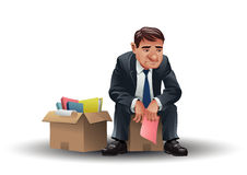 Layoff. A sad businessman holding a pink slip Royalty Free Stock Image