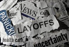 Layoffs news headline. Layoffs headline with other economic related news royalty free stock photo