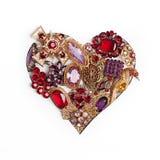 Layot de la forma del corazón con joyería en blanco Fotos de archivo libres de regalías