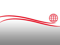 Layout. Abstract layout with red curves, globe and gradient background Royalty Free Stock Photos