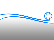 Layout. Abstract layout with blue curves, globe and gradient background Royalty Free Stock Photos