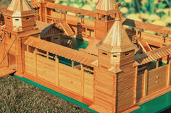 The layout of an ancient fortress, made of wood. Stock Photo