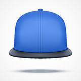 Layout of blue rap cap. Front view.. A template simple example. Editable Vector Illustration  on white background Stock Photography
