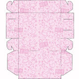 The layout of the boxes for baby. Box for cupcakes, candy, gifts, surprises. Cut and fold the box Stock Images