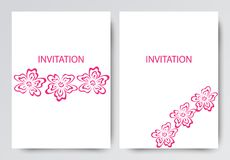 Layout of brochures, invitations, leaflets. Pink flowers on white background. royalty free illustration