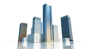 Layout of the business district of the city with skyscrapers and apartment buildings. 3d render Royalty Free Stock Photo