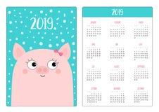 Layout calendario della tasca 2019 nuovi anni Testa di porcellino del maiale, arco rosa La settimana comincia domenica Personaggi illustrazione di stock