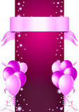 Layout card. Pink/purple invitation card - jpg illustration with glossy balloons, ribbon, confetti and stars Royalty Free Stock Photos