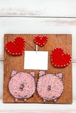 Layout for cards for Valentine`s day in the form of panels with hearts and two pigs handmade royalty free stock photo