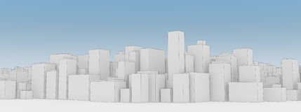 Layout of the city. A simplified model of a modern metropolis in gray on blue sky background Stock Photos
