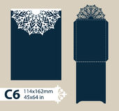 Layout congratulatory envelope with carved openwork pattern Royalty Free Stock Images