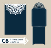 Layout congratulatory envelope with carved openwork pattern Stock Image
