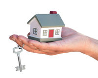 Layout cottages holds hand Stock Photography