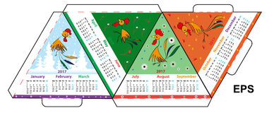 The layout of a desk calendar for 2017, in the form of a triangle. Calendar with a symbol of new 2017 year fire stock illustration