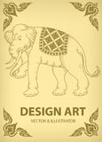 Layout Elephant outline thai tradition Royalty Free Stock Photos
