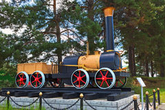 The layout of the first Russian steam locomotive Cherepanov  18 Stock Images