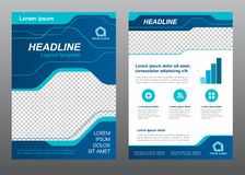 Layout flyer template size A4 cover page blue line art Vector design stock illustration