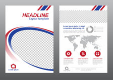 Layout flyer template size A4 cover page blue and red modern circle curves Vector design Stock Photos