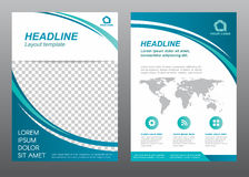 Layout flyer template size A4 cover page. Curve blue tone Vector design royalty free illustration