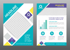 Layout flyer template size A4 cover page diamond square blue purple yellow tone Vector design vector illustration