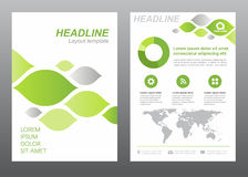 Layout flyer template size A4 cover page green and gray leaf abstract Vector design Stock Photo