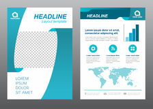 Layout flyer template size A4 cover page ribbon Turquoise tone Vector design Royalty Free Stock Photography