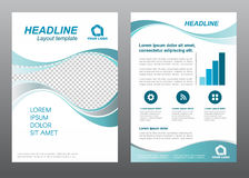 Layout flyer template size A4 cover page Wave Turquoise gray tone Vector design Royalty Free Stock Photos