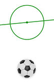 Layout of a football field and ball Stock Photos