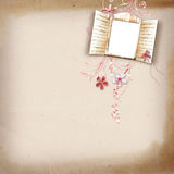 Layout with a frame for a photo. With a window and flowers Royalty Free Stock Images