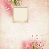 Layout with a frame for a photo. In pink royalty free illustration