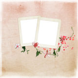Layout with frames for photos. Decorated with flowers and heart Stock Images