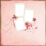 Layout with frames for photos. Decorated with flowers and heart Stock Photo