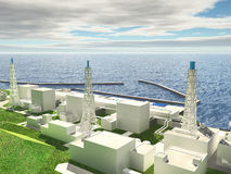 Layout of Fukushima nuclear plant stock illustration