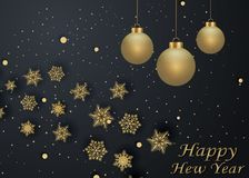 Layout Happy New Year golden and black color space for text Christmas balls, and snowflakes. Golden bokeh, light and ribbons. Vect. Layout Happy New Year golden Stock Images