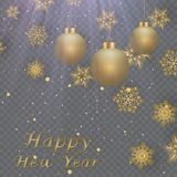 Layout Happy New Year golden and black color space for text Christmas balls, and snowflakes. Golden bokeh, light and ribbons. Vect. Layout Happy New Year golden Stock Photo