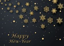 Layout Happy New Year golden and black color space for text Christmas balls, and snowflakes. Golden bokeh, light and ribbons. Vect. Layout Happy New Year golden Stock Photography