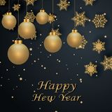Layout Happy New Year golden and black color space for text Christmas balls, and snowflakes. Golden bokeh, light and ribbons. Vect. Layout Happy New Year golden Royalty Free Stock Photography