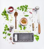 Layout with healthy eating ingredients, top view. Modern cooking, clean diet nutrition or detox food concept. Weight loss food. Flat lay stock images