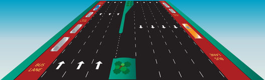 Layout of Highway road and bus lane  Landscape Royalty Free Stock Photography