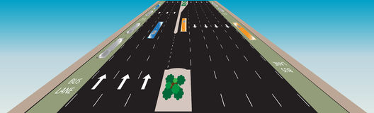 Layout of Highway road and bus lane  Landscape Royalty Free Stock Images