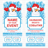 Layout holiday ticket. Vector template. Layout holiday ticket with a snowman. Vector template Royalty Free Stock Photos