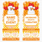 Layout holiday ticket. Vector template. Layout holiday ticket with a snowman. Vector template Stock Photography
