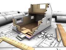 Layout of house and blueprints. 3d illustration of a model home in the background drawings Stock Images