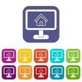 Layout of house icons set. Vector illustration in flat style in colors red, blue, green, and other Royalty Free Stock Photography