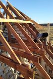 Layout and installation of roof rafters on a new commercial residential construction project by framing contractors royalty free stock photography