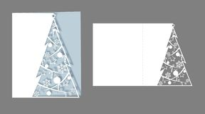 Layout laser cut for christmas cards Openwork Christmas spruce tree cut out of paper for New Year invitations greetings cards royalty free illustration