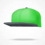 Layout of Male green rap cap. Vector illustration. Layout of Male color rap cap. A template simple example. Editable Vector Illustration isolated on white Royalty Free Stock Image