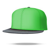Layout of Male green rap cap. Vector illustration. Layout of Male color rap cap. A template simple example. Editable Vector Illustration isolated on white Royalty Free Stock Photography